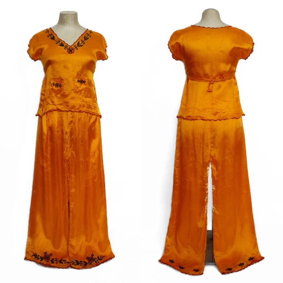 1940s loungewear set || 40s bright orange two-piec