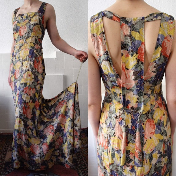 RARE 1930s lamé rose print floor-length gown || 30