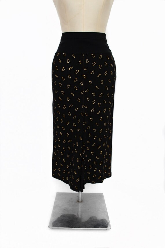 1930s safety pin print skirt || 30s black and gold