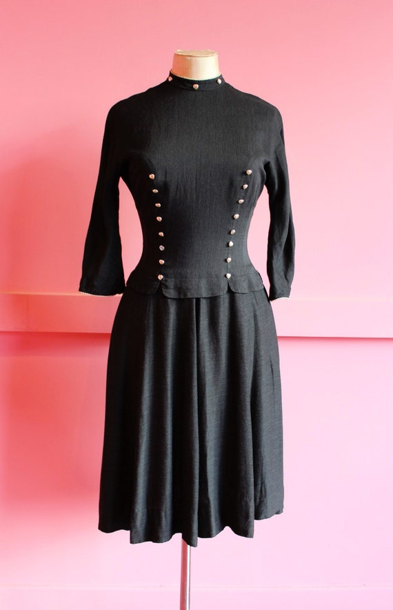 Late 1940s heart button dress || Early 1950s Blane