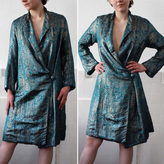 RARE 1920s blue lamé opera coat || 20s real metal