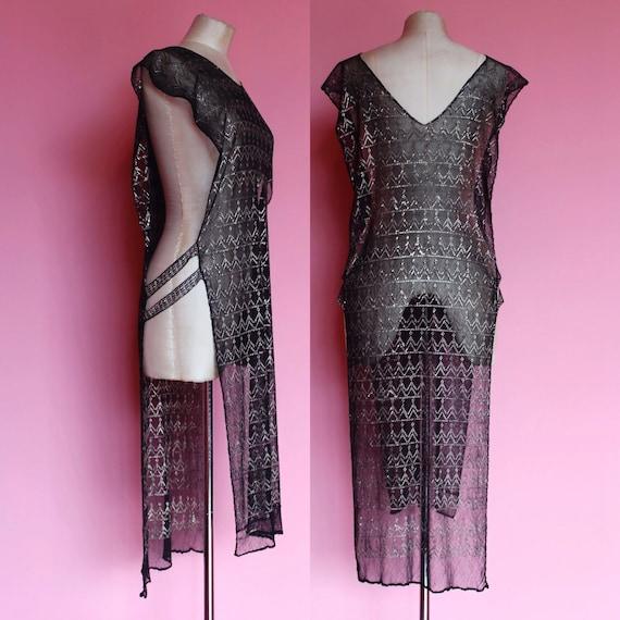 1920s assuit tabard dress    20s black mesh evenin