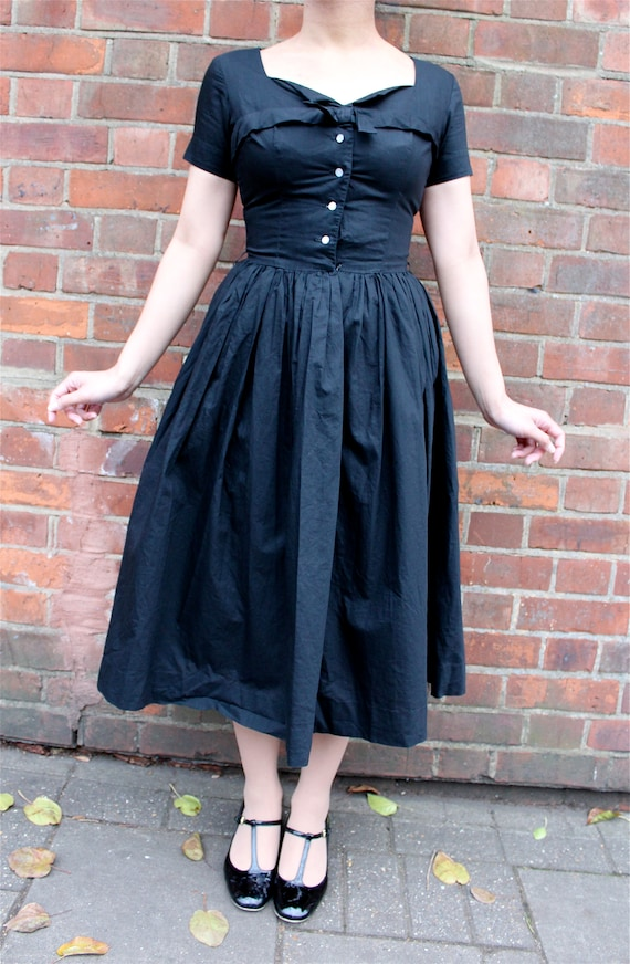 1950s Teena Paige black cotton dress || 50s junior