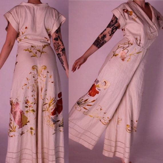 RARE 1930s beach pyjamas || 30s embroidered Germa… - image 2