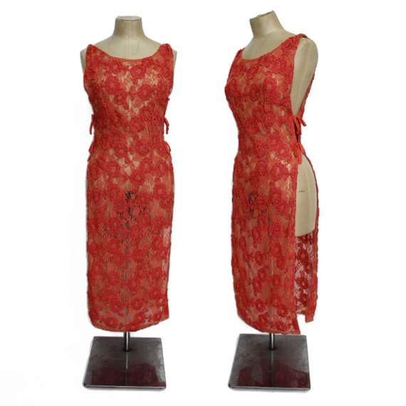 1920s pink lace and ribbon tabard dress || 20s sal