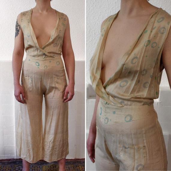 RARE 1930s silk beach pajamas || 30s cream pongee