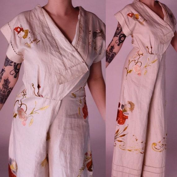 RARE 1930s beach pyjamas    30s embroidered German