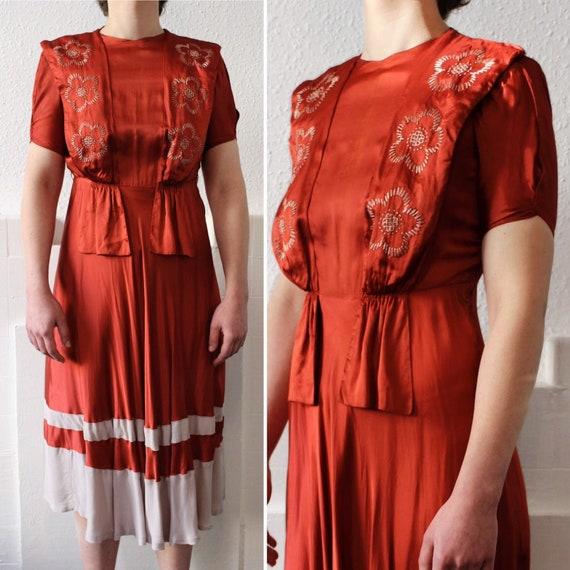1930s burnt orange silk dress    30s embroidered f