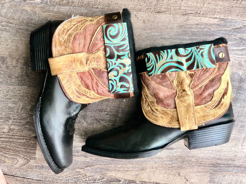 ca4349ad589 Square Toe Corral Booties - Vintage Boots- Cowboy Boots- Revamped Boots-  Feather Boots- Fringe Boots - Size 7.5