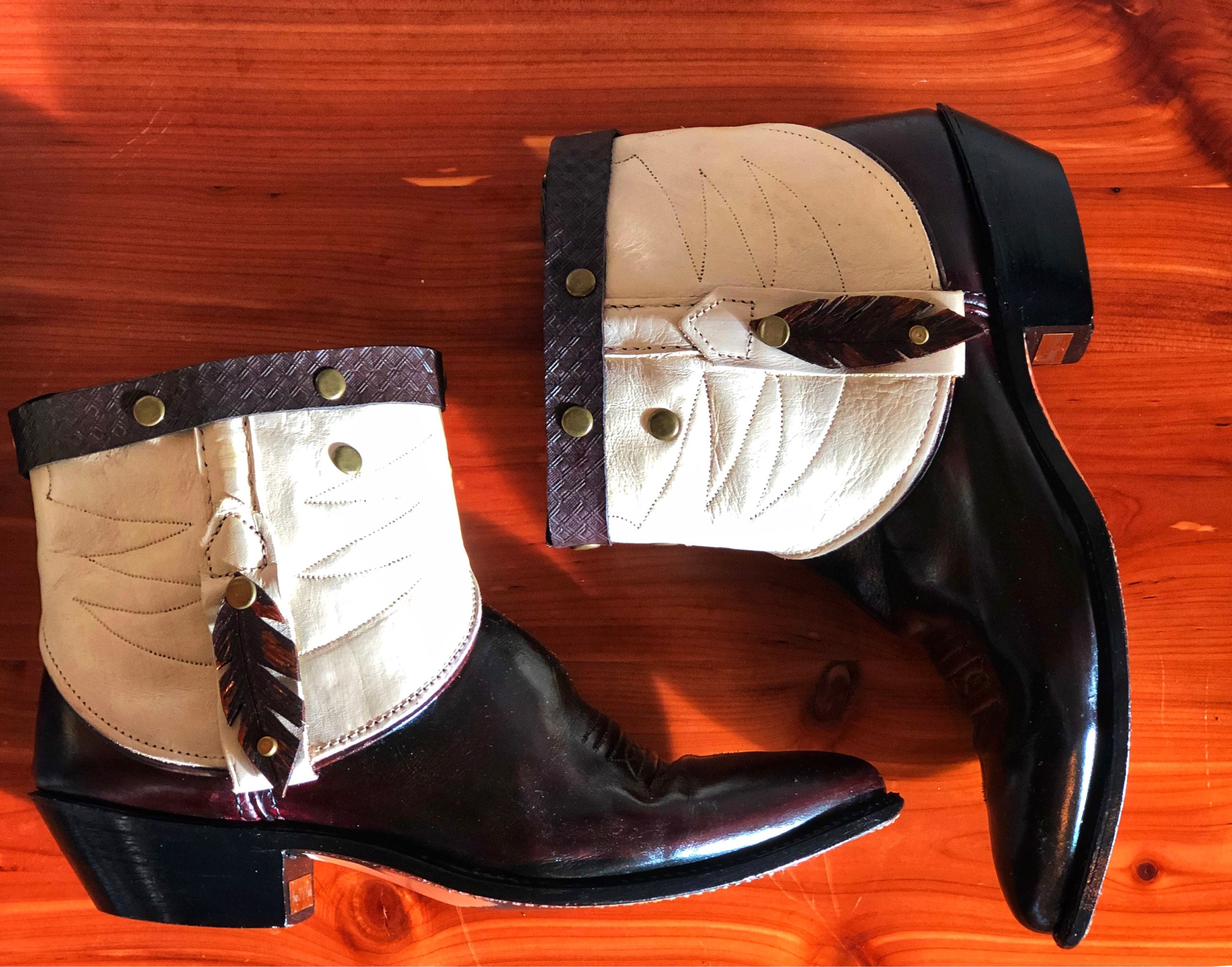 23a030a0f8a Cut Top Frye Booties - Vintage Boots- Cowboy Boots- Revamped Boots- Feather  Boots- Fringe Boots - Size 8