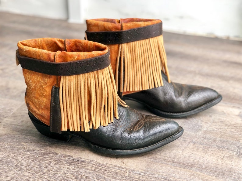 6e83171cc8c Dark Chocolate Fringe Boots - Cowboy boots - Ankle Boots - Upcycled Boots-  Decorated Boots