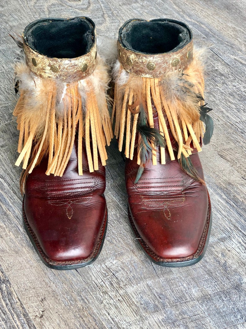e263cab96d7 Ariat Cut Top Booties - Vintage Boots- Cowboy Boots- Revamped Boots-  Feather Boots- Fringe Boots - Size 8