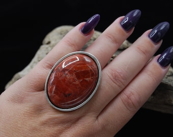 Red Jasper Oval Cabochon Ring, Antique Silver Large Stone Ring, Adjustable Silver Ring, Statement Silver Ring, Gift For Her, Red Stone