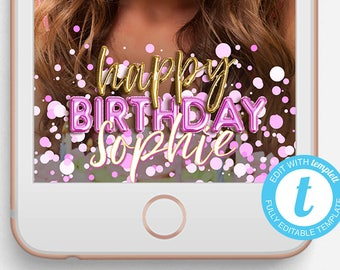 Birthday Snapchat Filter, Birthday Snapchat Geofilter, Editable Snapchat Filter, Templett, INSTANT DOWNLOAD, Ready Now Snapchat Filter