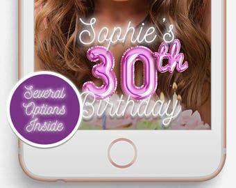 Birthday Snapchat Filter, Birthday Snapchat Geofilter, Custom Options Filter, Balloons, Neon, 30th Birthday, 21st Birthday, Rose Gold