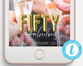 Birthday Snapchat Filter, 50 and Fabulous, Birthday Snapchat Geofilter, Editable Snapchat Filter, 50th Birthday, 50th Birthday Geofilter