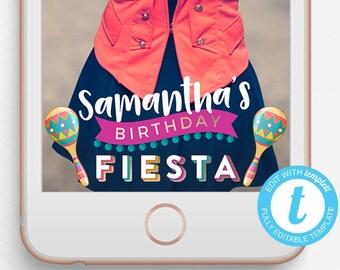 Birthday Snapchat Filter, Birthday Snapchat Geofilter, Custom Snapchat Filter, Fiesta Birthday Geofilter, Mexican Fiesta Birthday Geofilter