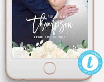 Wedding Snapchat Filter, Wedding Snapchat Geofilter, Editable Snapchat Filter, Templett, Flowers, Wedding Flower Snapchat filter, Mr and Mrs