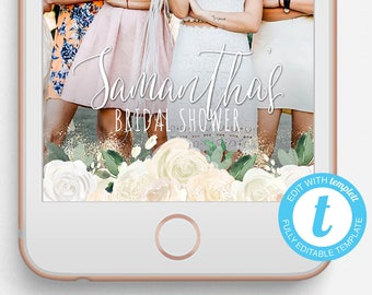 Bridal Shower Snapchat Filter, Bridal Shower Snapchat Geofilter, Editable Snapchat Filter, Templett, Flowers, Flowers Bridal Shower Filter