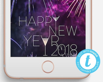 New Year Snapchat Filter, New Year Geofilter, Editable Snapchat Filter, Happy New Year, New Year Drinks, 2018 Geofilter