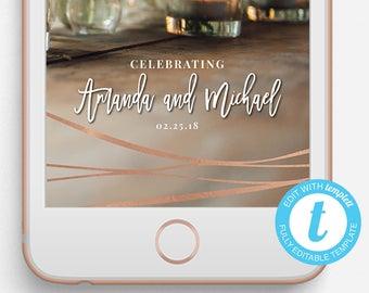 Wedding Snapchat Filter, Wedding Snapchat Geofilter, Editable Snapchat Filter, Templett, Rose Gold Geofilter Wedding, Rose Gold Wedding
