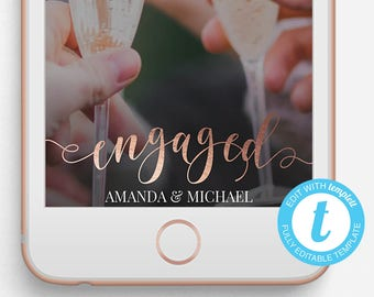 Engagement Snapchat Filter, Engaged Snapchat Geofilter, Editable Snapchat Filter, Templett, Copper, Gold, Silver, Glitter Engagement Party