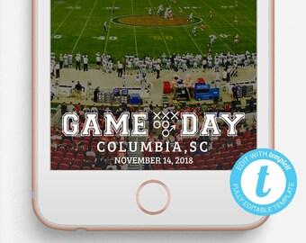 Football Snapchat Filter, Football Snapchat Geofilter, Editable Snapchat Filter, Templett, Game Day Geofilter, Football Snapchat, Game Day