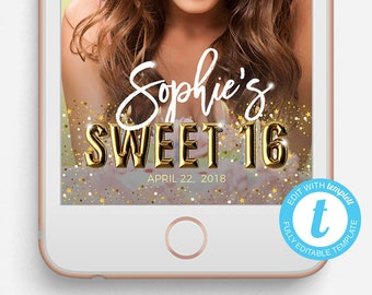 Birthday Snapchat Filter, Birthday Snapchat Geofilter, Editable Snapchat Filter, Templett, Sweet 16, Snapchat Filter Sweet 16