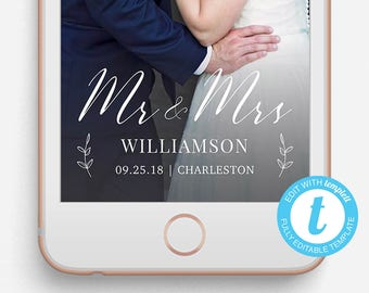 Wedding Snapchat Filter, Wedding Snapchat Geofilter, Editable Snapchat Filter, Templett, Mr. and Mrs., Mr. and Mrs. Snapchat filter