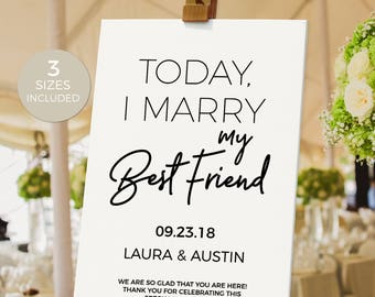 Welcome to Our Wedding Sign, Wedding Sign, Welcome Wedding Printable, DIY, Template, PDF Instant Download, Marry My Best Friend