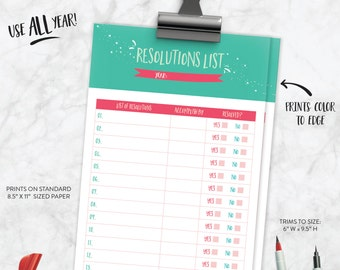 New Years Resolution List, Printable Resolution List, New Years List, New Year, Resolution List, Goal List, Printable Goal List