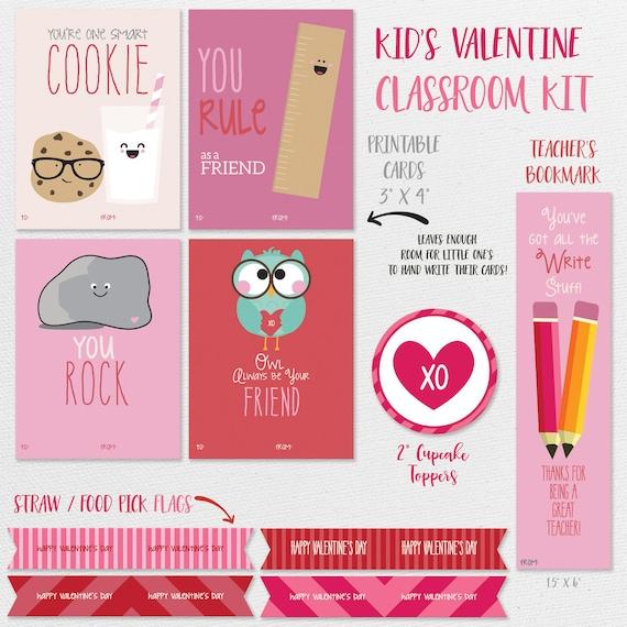 Kids Valentines Cards Printable Kids Classroom Valentines Etsy