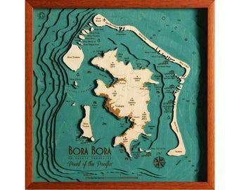 Bora bora map | Etsy