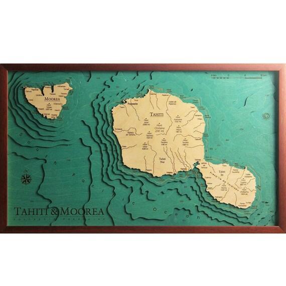 Tahiti & Moorea Polynesia Francaise - 100% Made in italy - Wood Charts Map  Laser cut - Quadro Mappa in legno - Artigianato Italiano