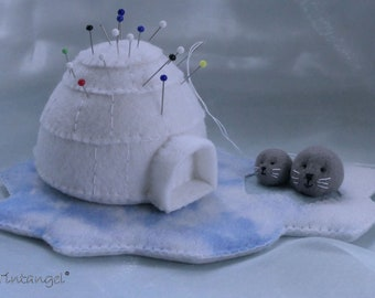 Polar Arctic Igloo toy Nursery decor,Igloo magnet,Cute toy Felt IGLOO Snow house stuffed felt Igloo magnet or ornament Antarctic