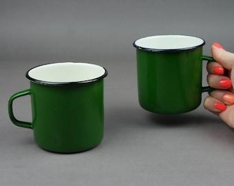 Mug, tasse de métal, tasse d'émail, tasse de vintage, URSS, tasse de lait, décor de tasse, tasse URSS, mug blanc