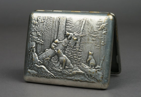 cigarette case, metal cigarette case, vintage ciga