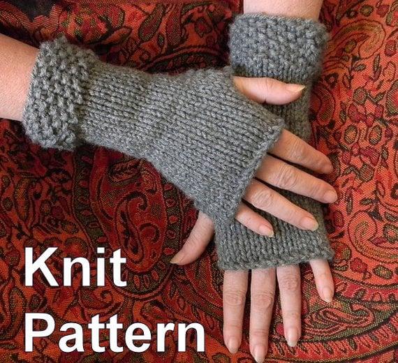 Classic Fingerless Gloves Knit Pattern Etsy