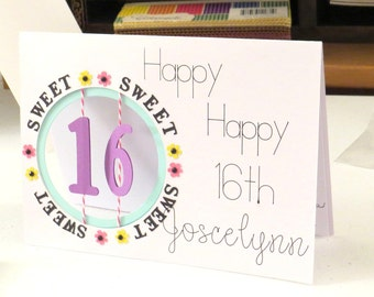 Sweet 16th Birthday Card Personalized Age Display For Daughter Niece Granddaughters A Special Happy Sixteen Cut Out Window Customized