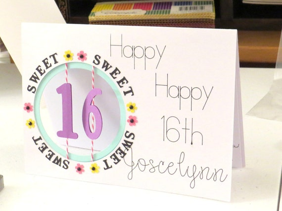 Sweet 16th Birthday Card Personalized Age Display For