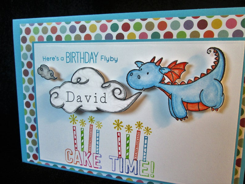 Cake Candles For Boys Grandson Godson Personalized Birthday Card With Dragon For Son Step-son Nephew Customize Personalised With Name