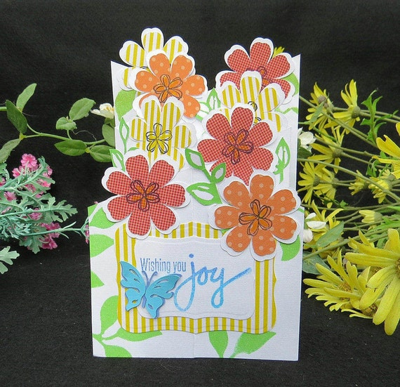 Special Pop Out Flower Bouquet Birthday Card Pop Up Handmade Etsy
