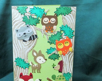 Woodland Animals Baby Shower Card, Cute Baby Animals, Lovable Forest Critters, Welcome Baby Boy, Baby Girl, Congratulations On Birth
