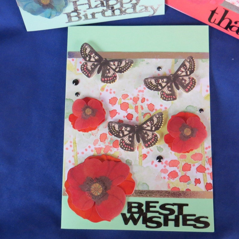 Butterfly Greetings Set of 3 All Occasion Cards Birthday and Best Wishes For Remembering Family and Friends or Co-Workers Thank You