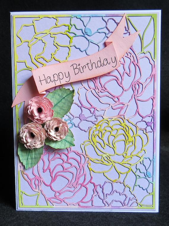 Laser Cut Birthday Card Handmade Paper Flower Card Birthday Etsy