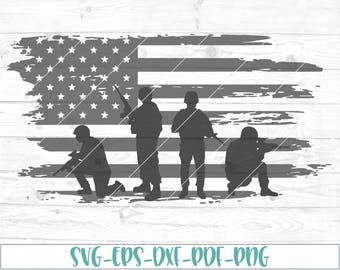Soldiers American Flag Distressed SVG, eps, dxf, png, cricut, cameo, cut file, veterans svg, memorial day svg, veteran svg, soldier svg