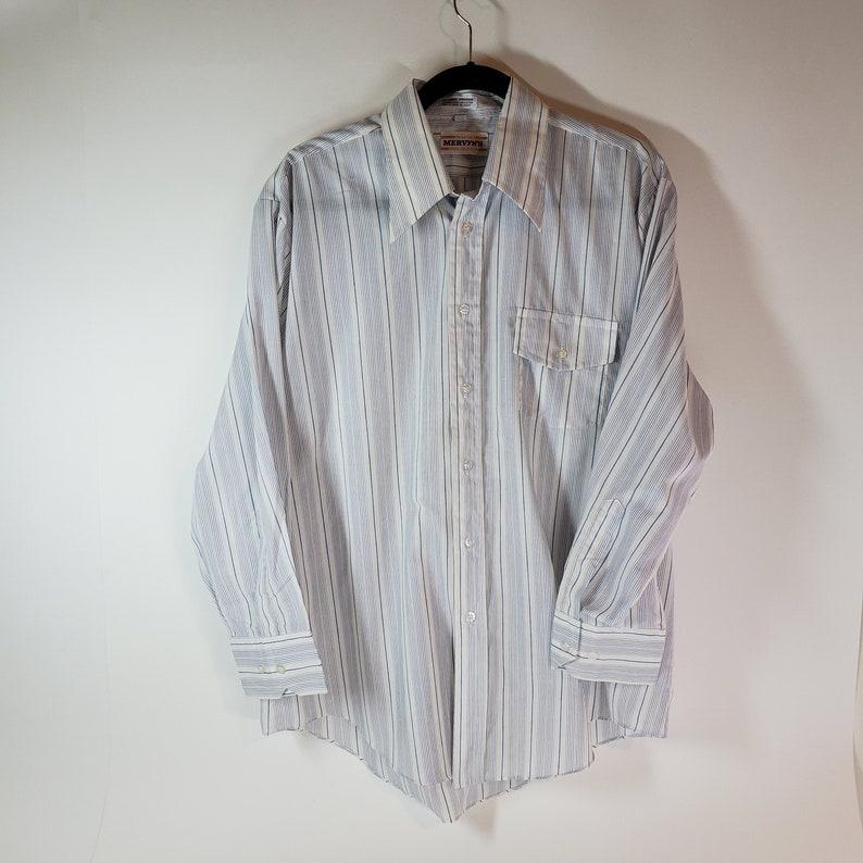 19e694d39c9af Vintage Mervyn's White Striped Button Down Cotton Blend Shirt Men's Size 16  1/2 32/33