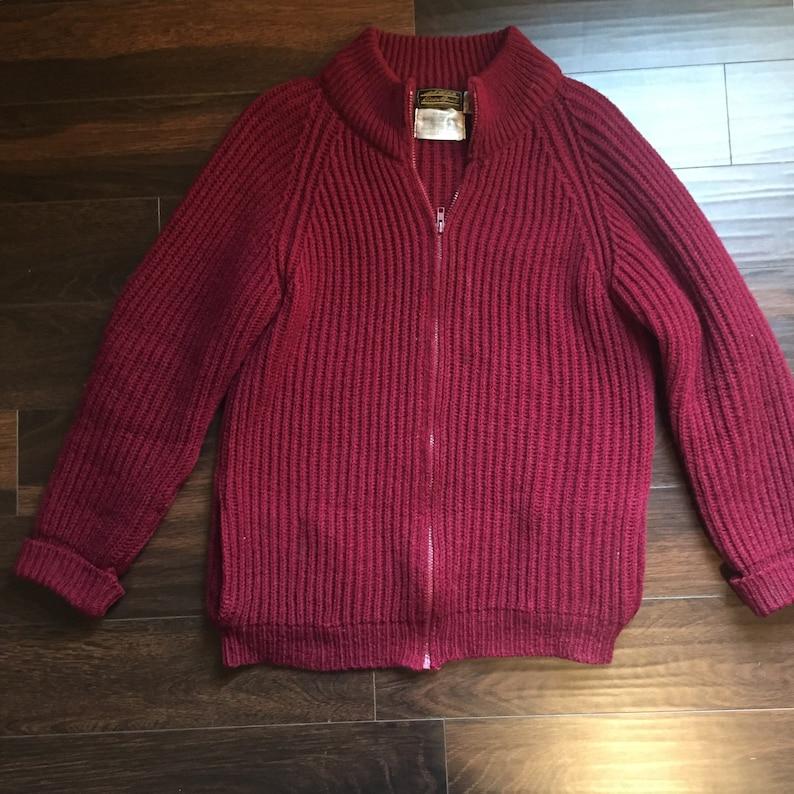 1ae17fbd24940 Vintage Eddie Bauer Knit Wool Burgundy Cardigan Zip Up Sweater