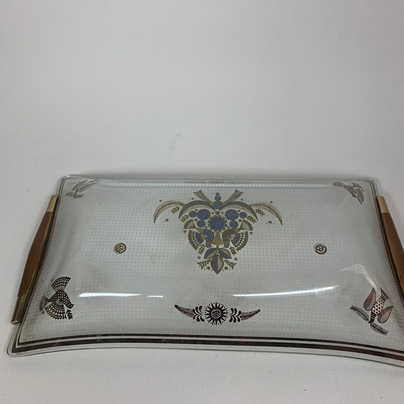 Vintage Glass Gold Painted Bird Decorative Serving Tray Platter Jewelry Dish with Wooden Handles 11 x 6