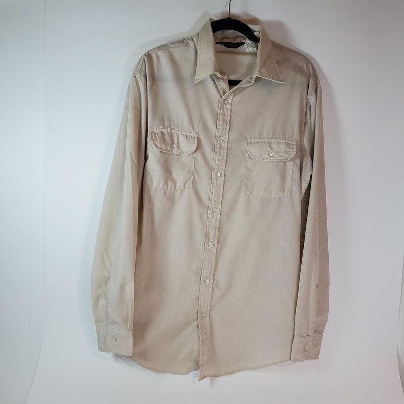 eceb93e1d8197 Vintage Cambridge Long Sleeve Yellow Ivory Cotton Blend Button Up Dress  Shirt Men's Size Large